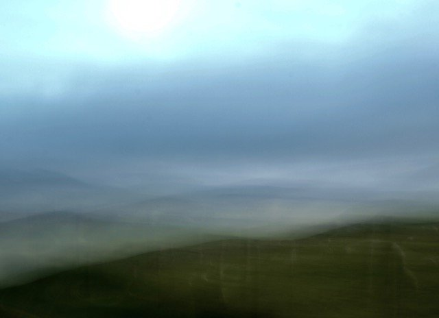 Dusk hillscape near Lampeter, Wales, 2016.