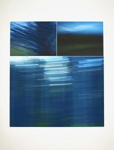 "Dusk Series, <em>New England Triptych</em>, 2014, 40"" x 45""<br /> Archival pigment prints of moved-camera digital photographs <br /> $800<br /> <br /> Shooting the dusk series I learned that dusk is not a unilateral event but a process, like a slow, rolling wave. There are three stages of twilight. Civil twilight, which begins at sunset; nautical twilight, when stars brighten; and astronomical twilight, just before darkness. The final moments of each phase are called ""dusk."" The marine tones of these images, taken at nautical dusk, suggest that the sky blues land as readily as it does the sea."